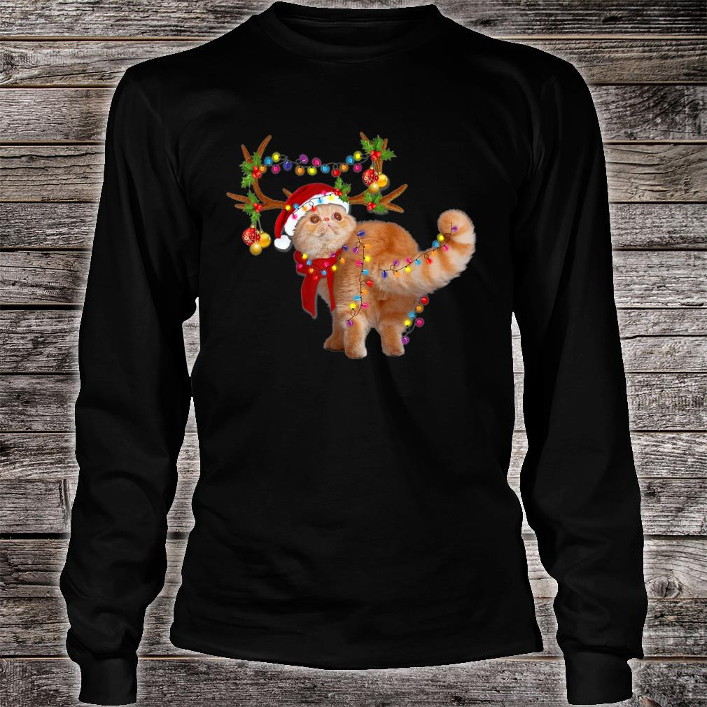 The Exotic Cat Gorgeous Reindeer Christmas Tree Light Xmas Shirt long sleeved
