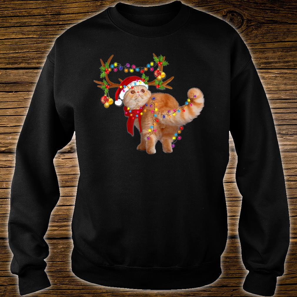 The Exotic Cat Gorgeous Reindeer Christmas Tree Light Xmas Shirt sweater