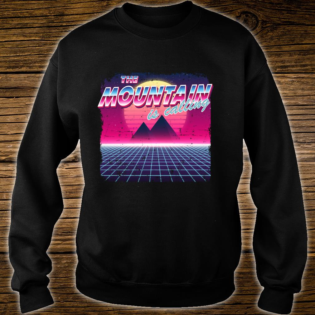 The Mountain Is Calling Retro Vintage 80s Vaporwave Hiking Shirt sweater