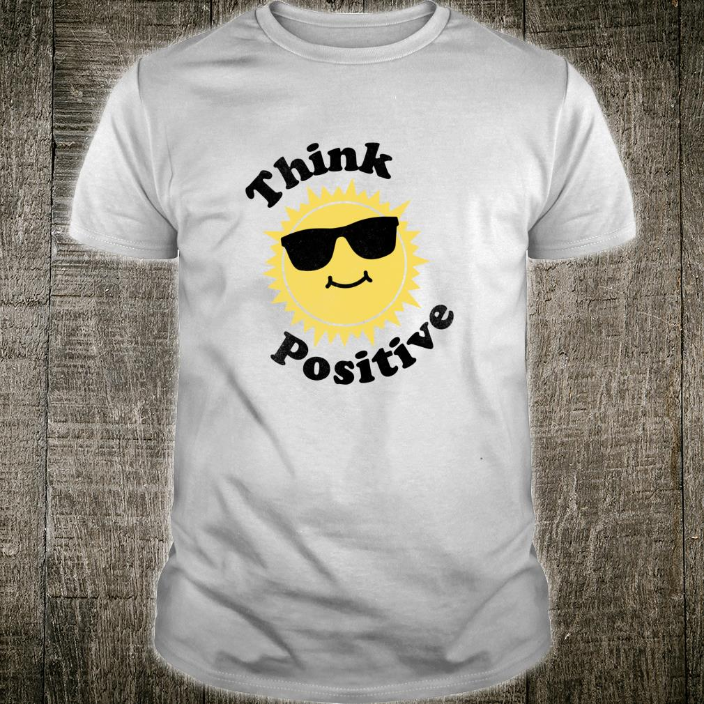 Think Positive Sunshine Cute Retro Cartoon Sun Shirt