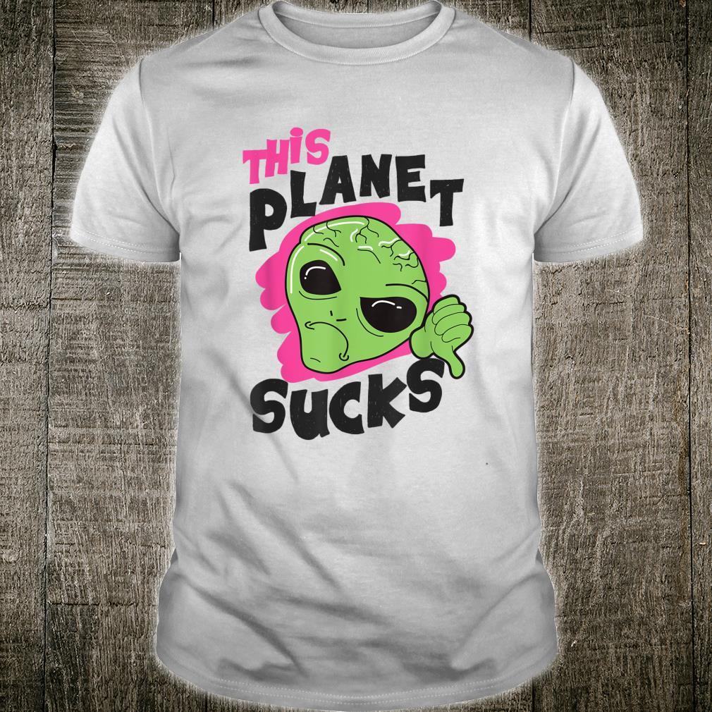 This Planet Sucks Green Alien Head Face Halloween Costume Shirt