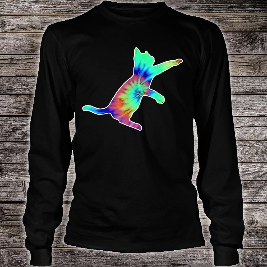 Tie Dye Cat Colorful Tye Dye Kitten Shirt long sleeved