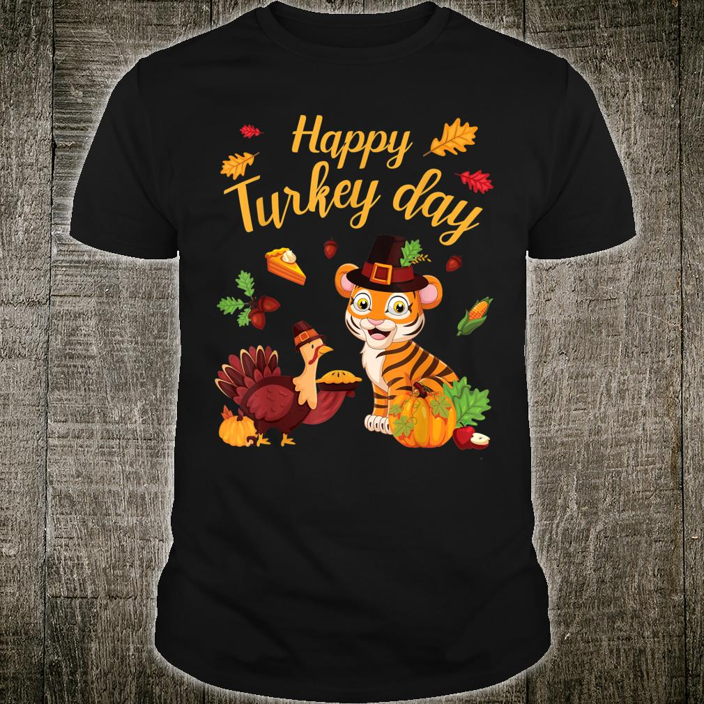 Tiger Dance With Pie Pumpkin Happy Turkey Day Thanksgiving Shirt