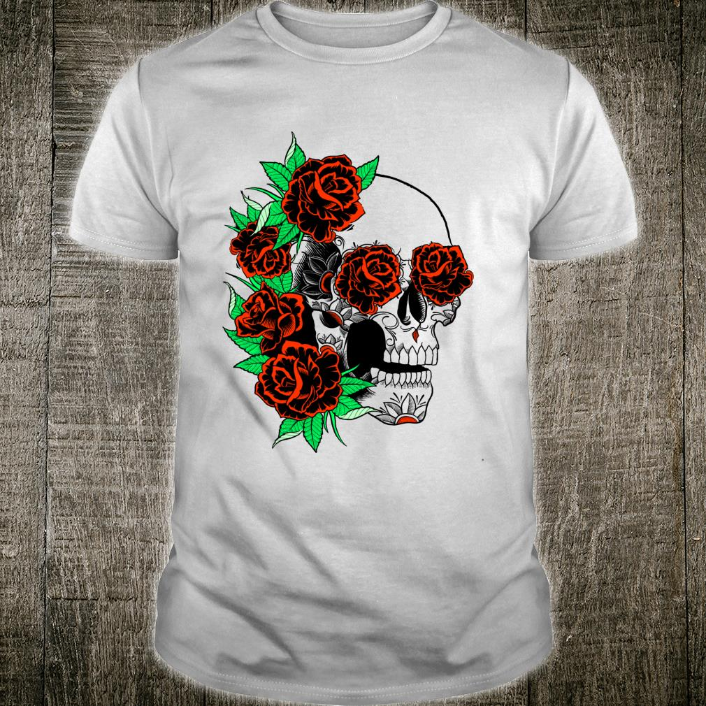 Trendy Skull With Roses Shirt