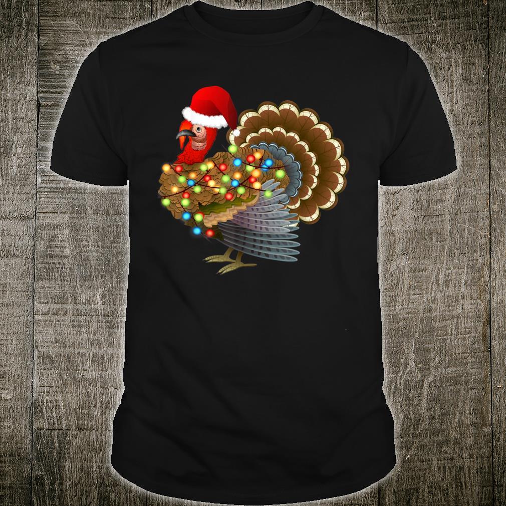 Turkey Santa Christmas LightTurkey Thanksgiving Christmas Shirt