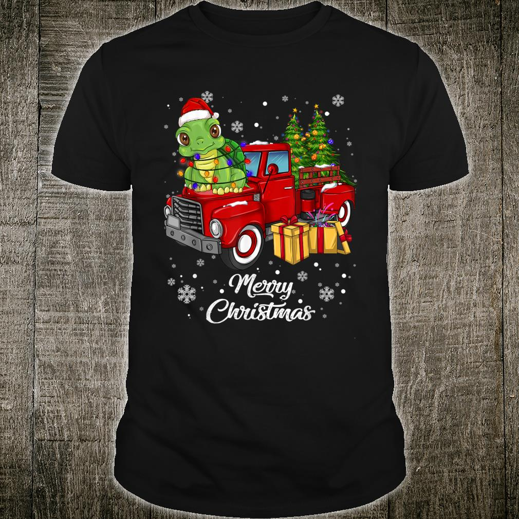 Turtle Riding Red Truck Merry Christmas Xmas Ugly Shirt