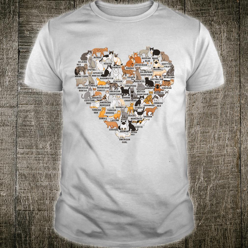 Types Of Cat Identification Cat Faces Cat Heart Shirt