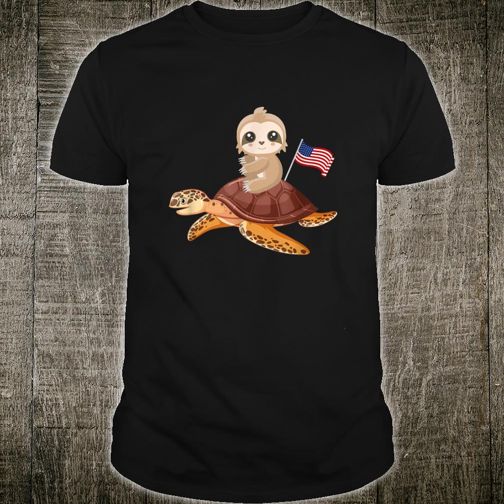 US Flag American Turtle Sloth Shirt
