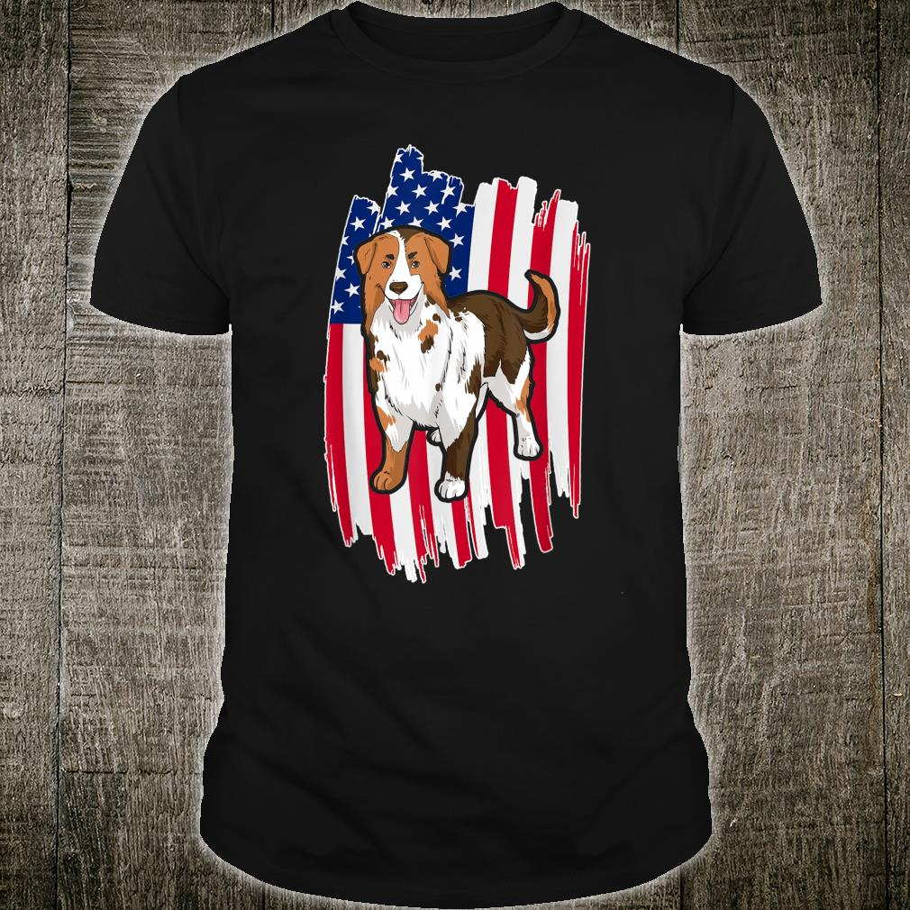 USA Flag 4th Of July Patriotic Australian Shepherd Shirt