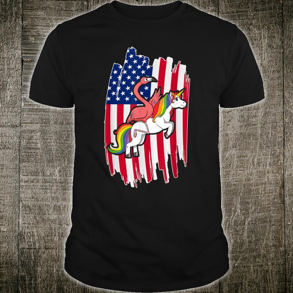 USA Flag 4th Of July Patriotic Flamingo & Unicorn Shirt
