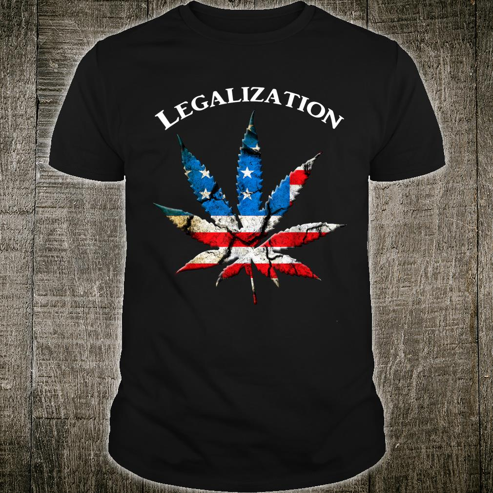 USA Flag Marijuana Leaf Design US flag Poat Weed Shirt