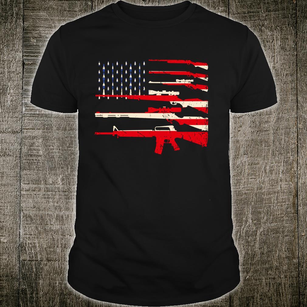 USA Flag Rifles Guns Weapons 2A Amendment Fathers Day Shirt
