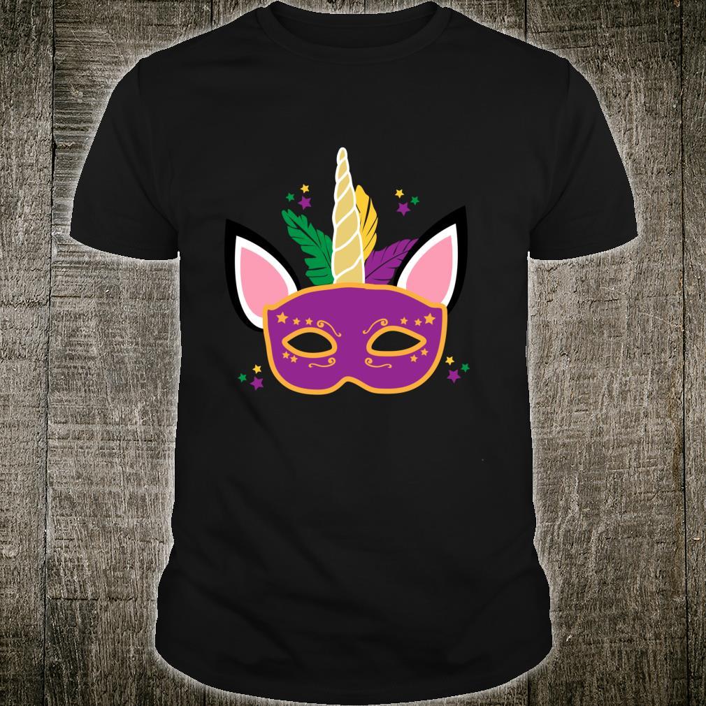 Unicorn Mardi Gras Costume Mask Ears Horn Feathers Stars Shirt
