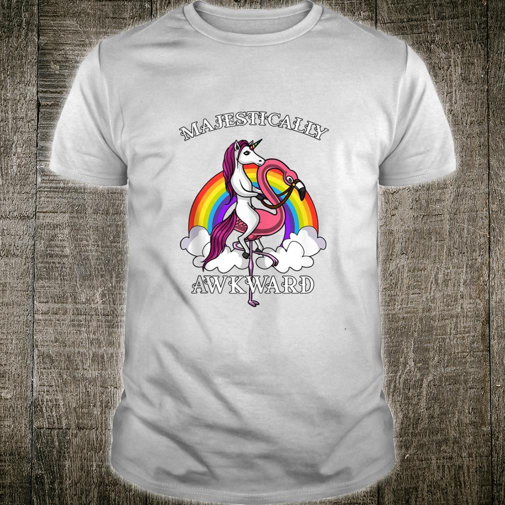 Unicorn Riding Flamingo Bird Majestically Awkward Girls Shirt