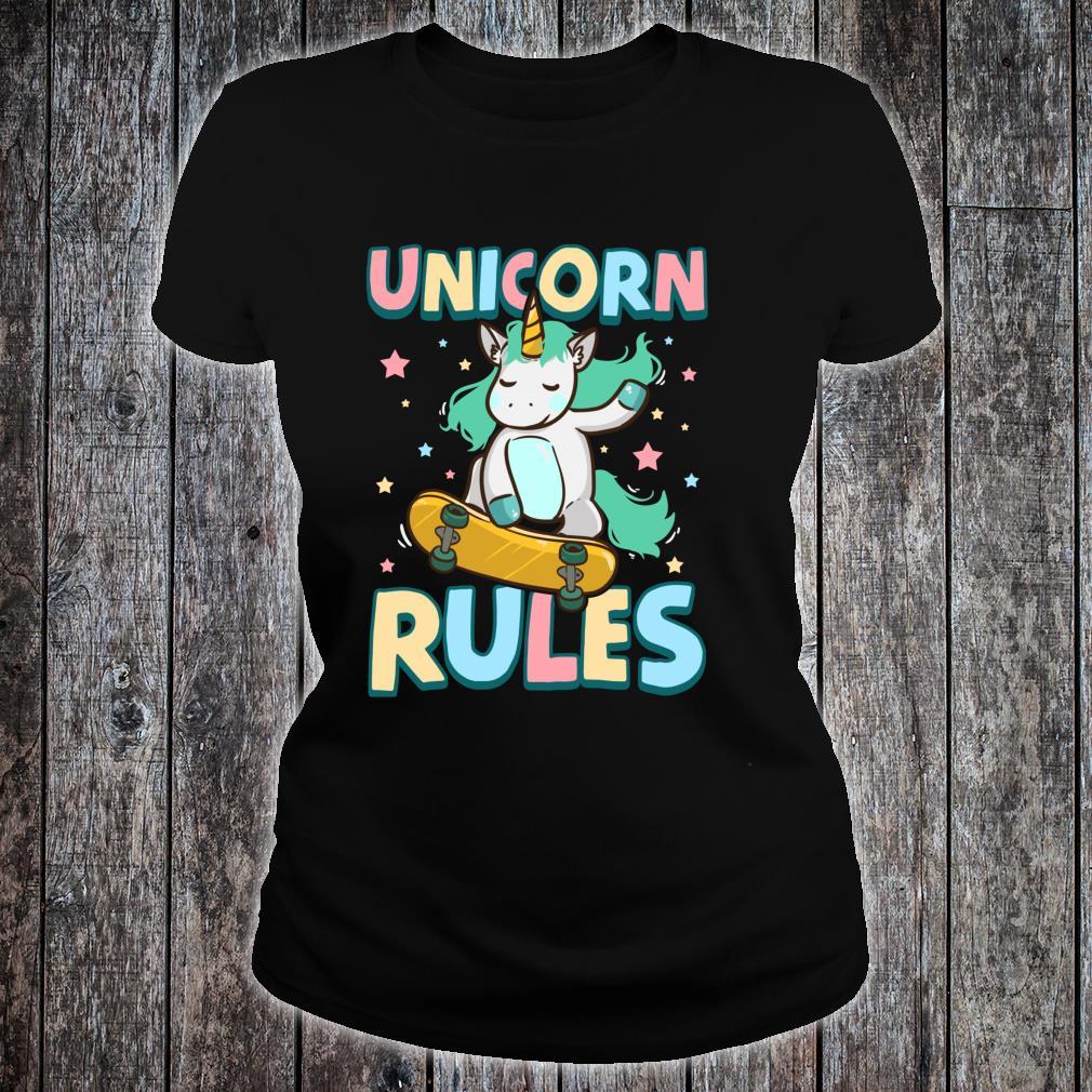 Unicorn Rules Skateboarding Shirt ladies tee