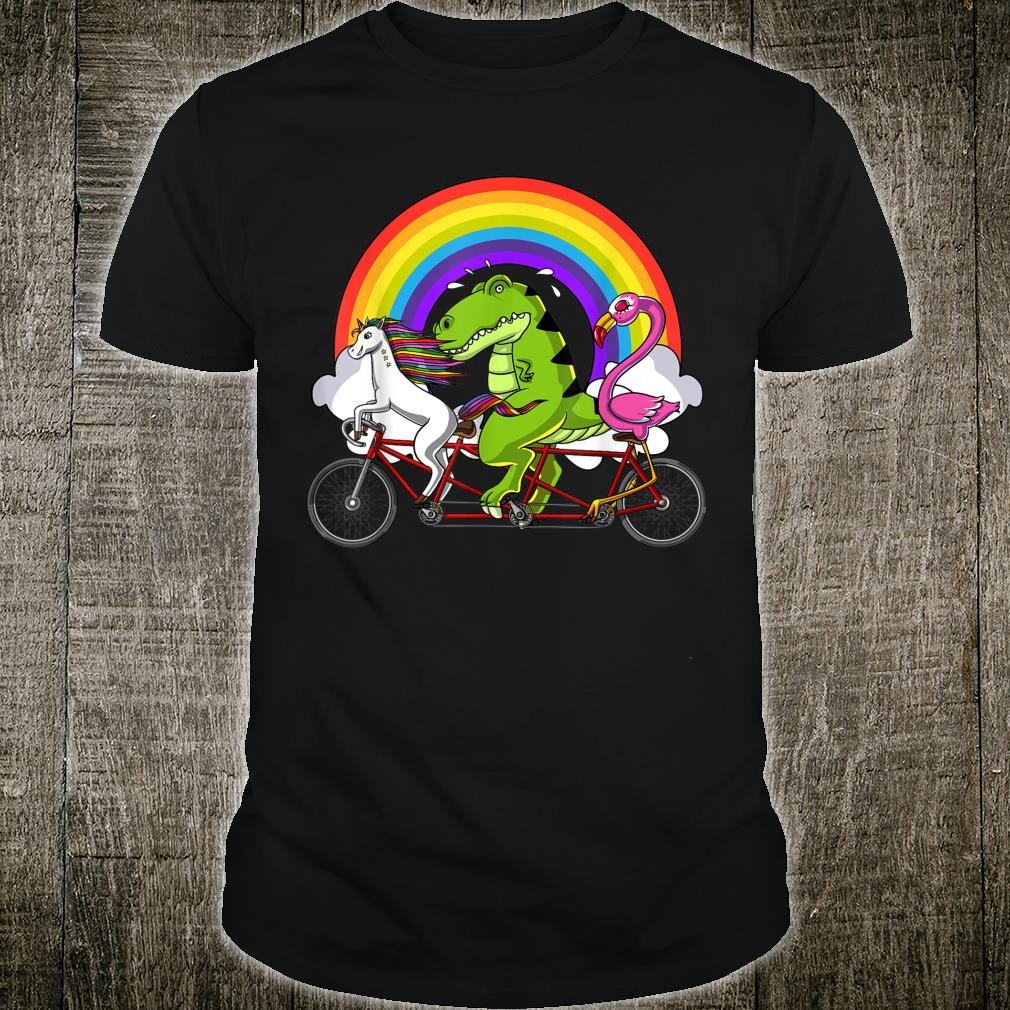 Unicorn TRex Dinosaur Flamingo Bird Riding Bicycle Rainbow Shirt