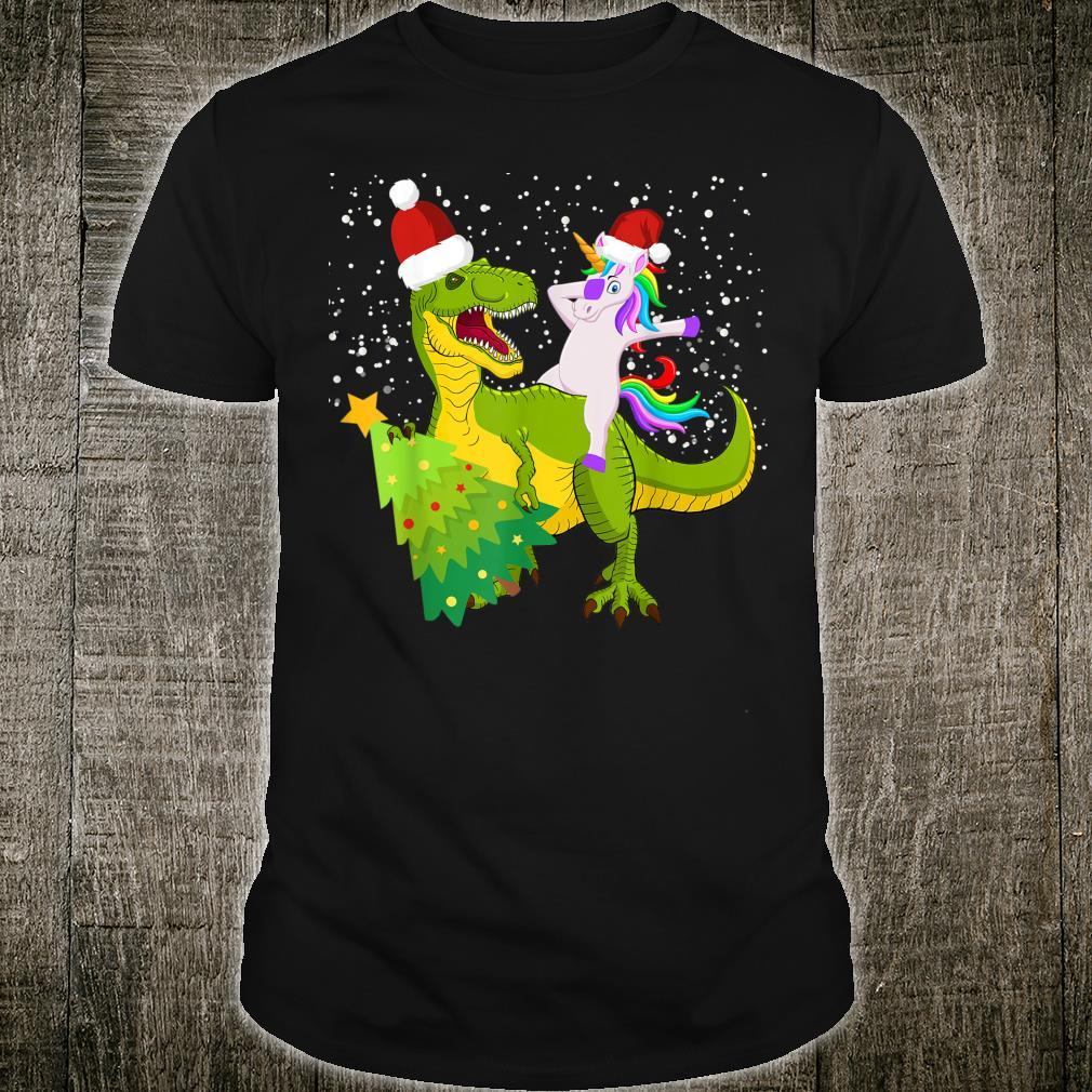 Unicorn riding dinosaur tree Trex dabbing Christmas snow Dab Shirt