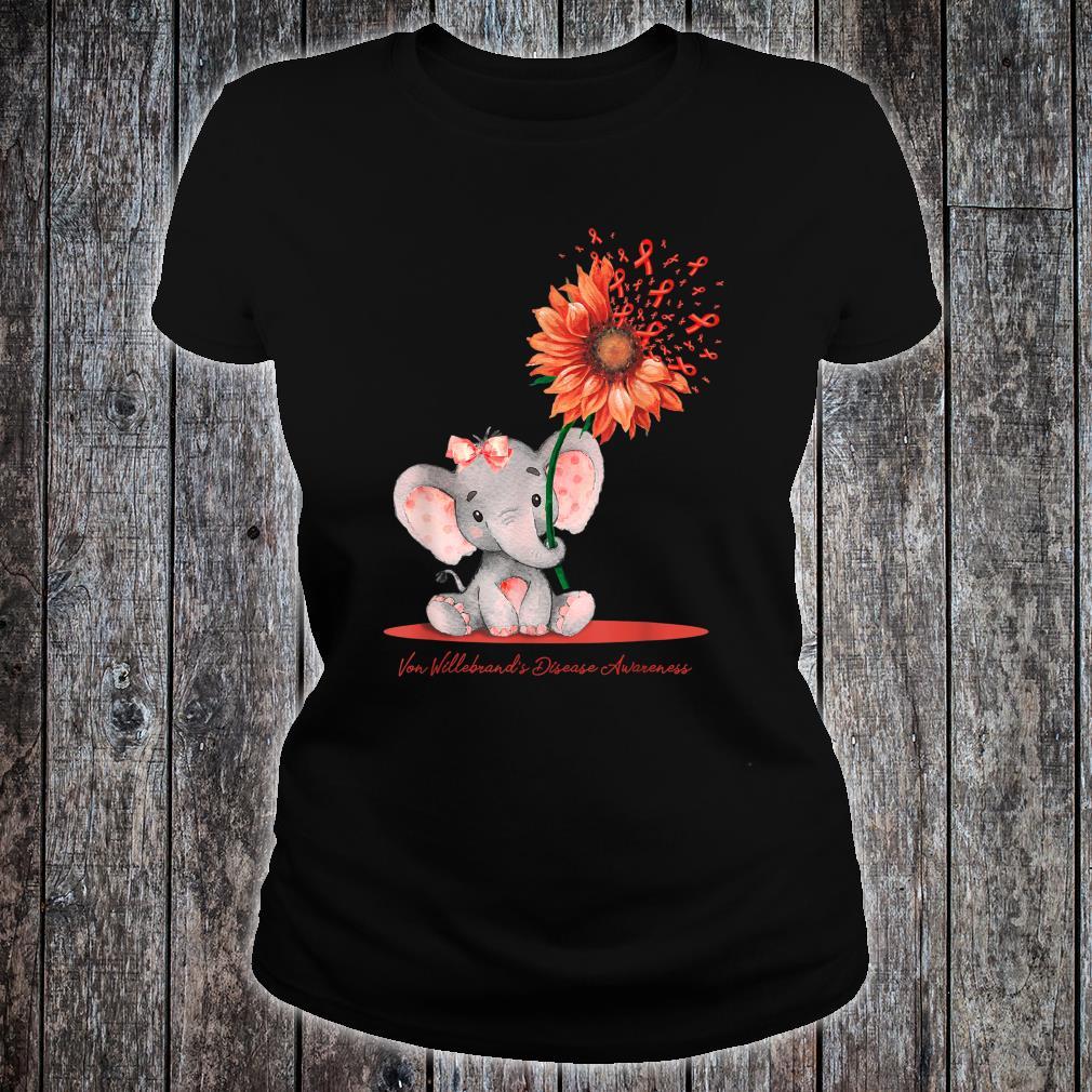 VON WILLEBRAND'S DISEASE AWARENESS Cute Elephant Sunflower Shirt ladies tee