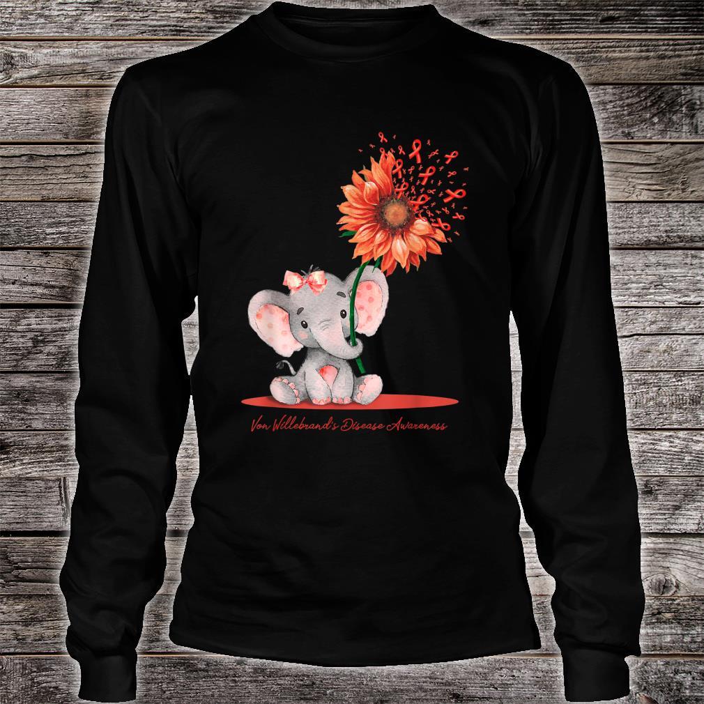 VON WILLEBRAND'S DISEASE AWARENESS Cute Elephant Sunflower Shirt long sleeved