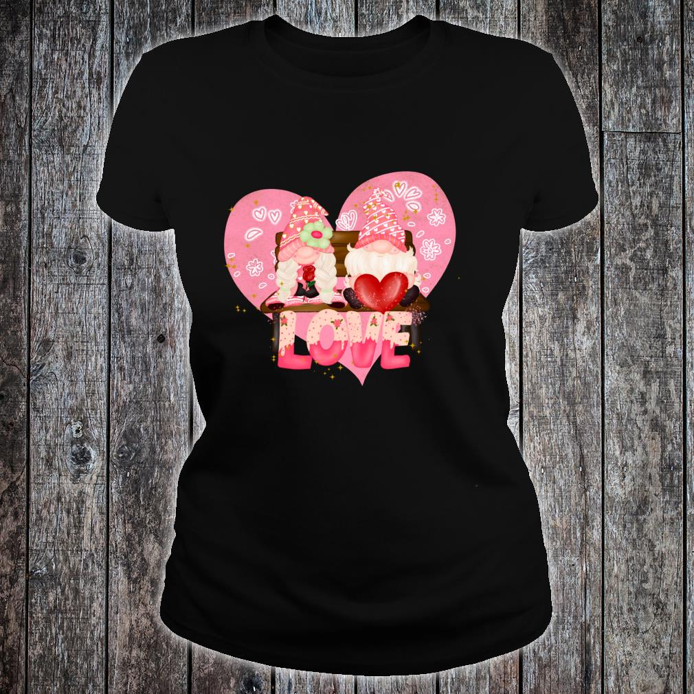 Valentine Gnomes Holding Hearts Valentine's Day Gnome Love Shirt ladies tee