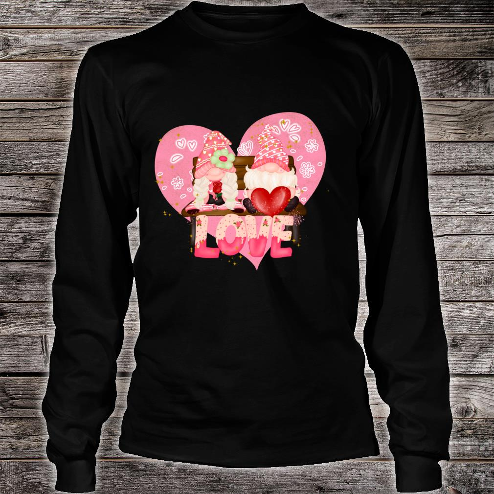 Valentine Gnomes Holding Hearts Valentine's Day Gnome Love Shirt long sleeved
