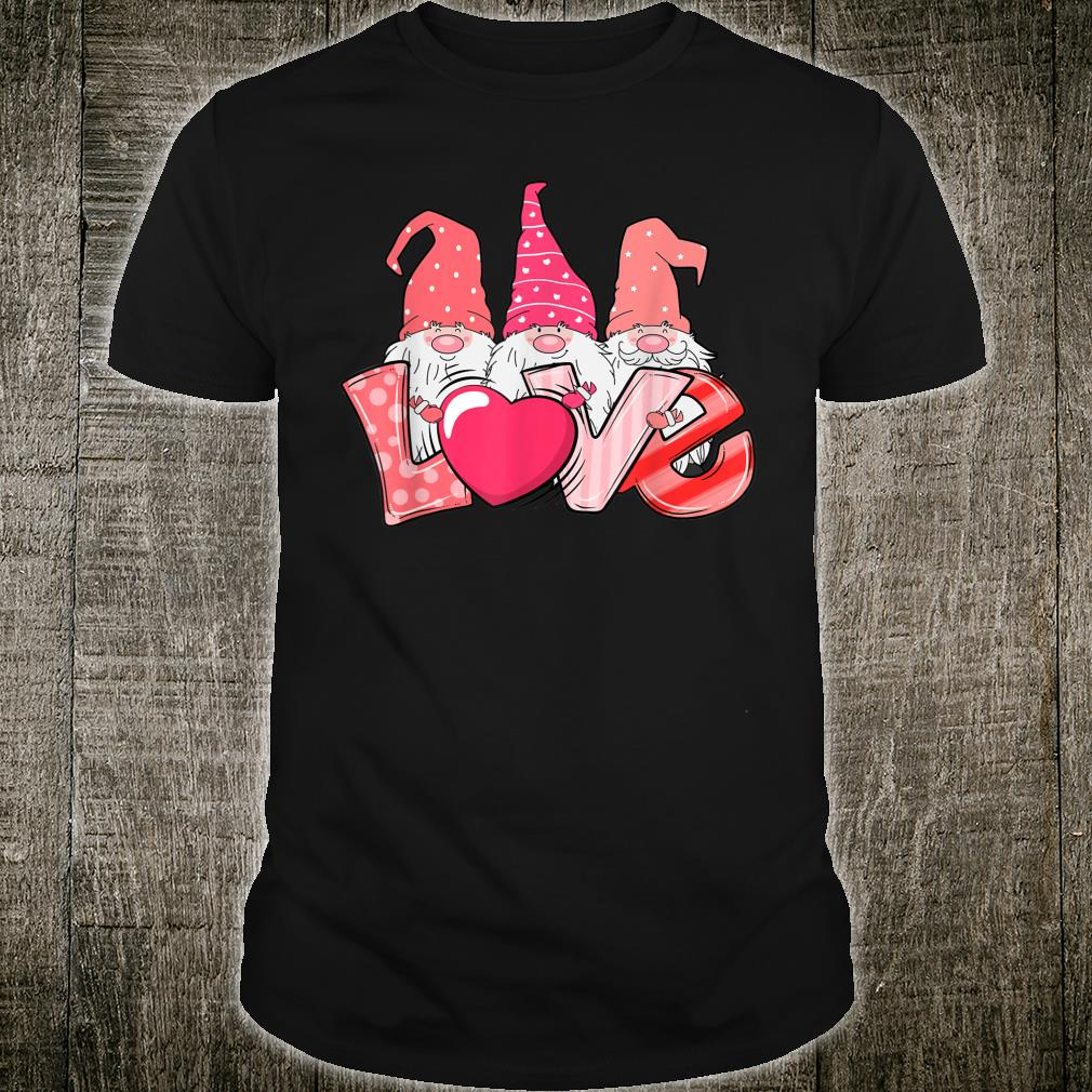 Valentine's Day Cute Three Gnome Love Girls Boys Shirt