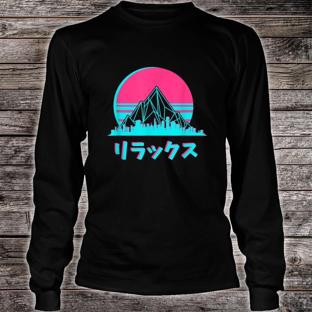 Vaporwave Aesthetic Skyline Sunset Anime Fan Shirt long sleeved