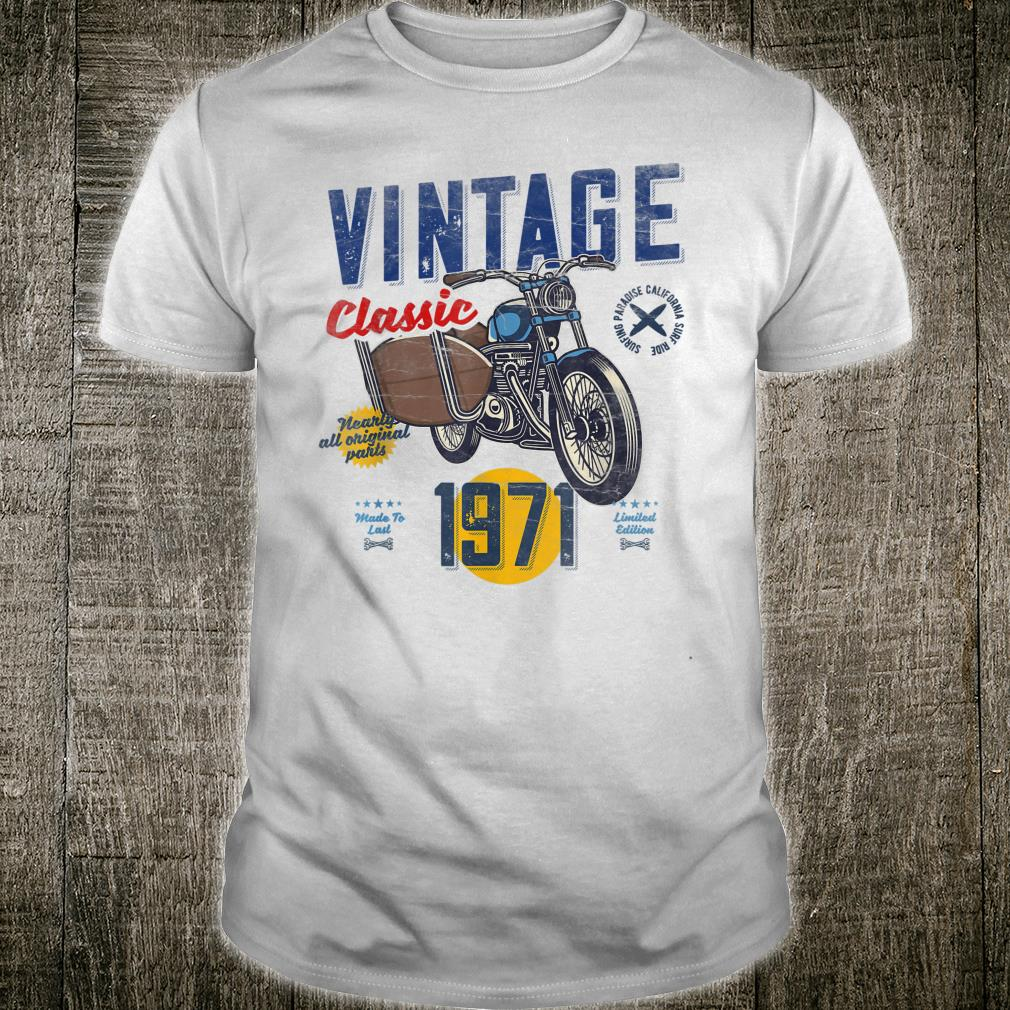 Vintage, Born 1971, 50th Birthday, Classic Retro Motorbike Shirt