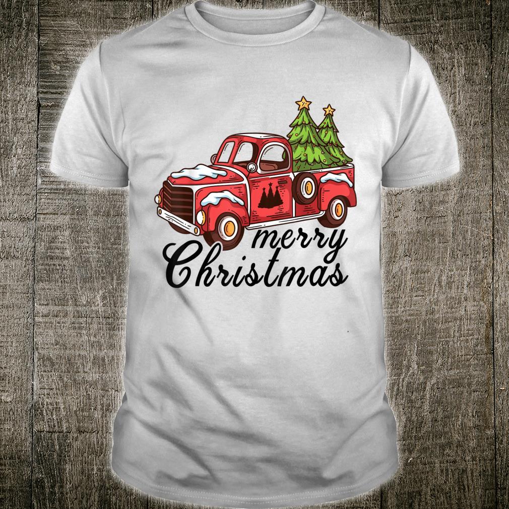 Vintage Merry Christmas Christmas Red Truck Xmas Tree Shirt