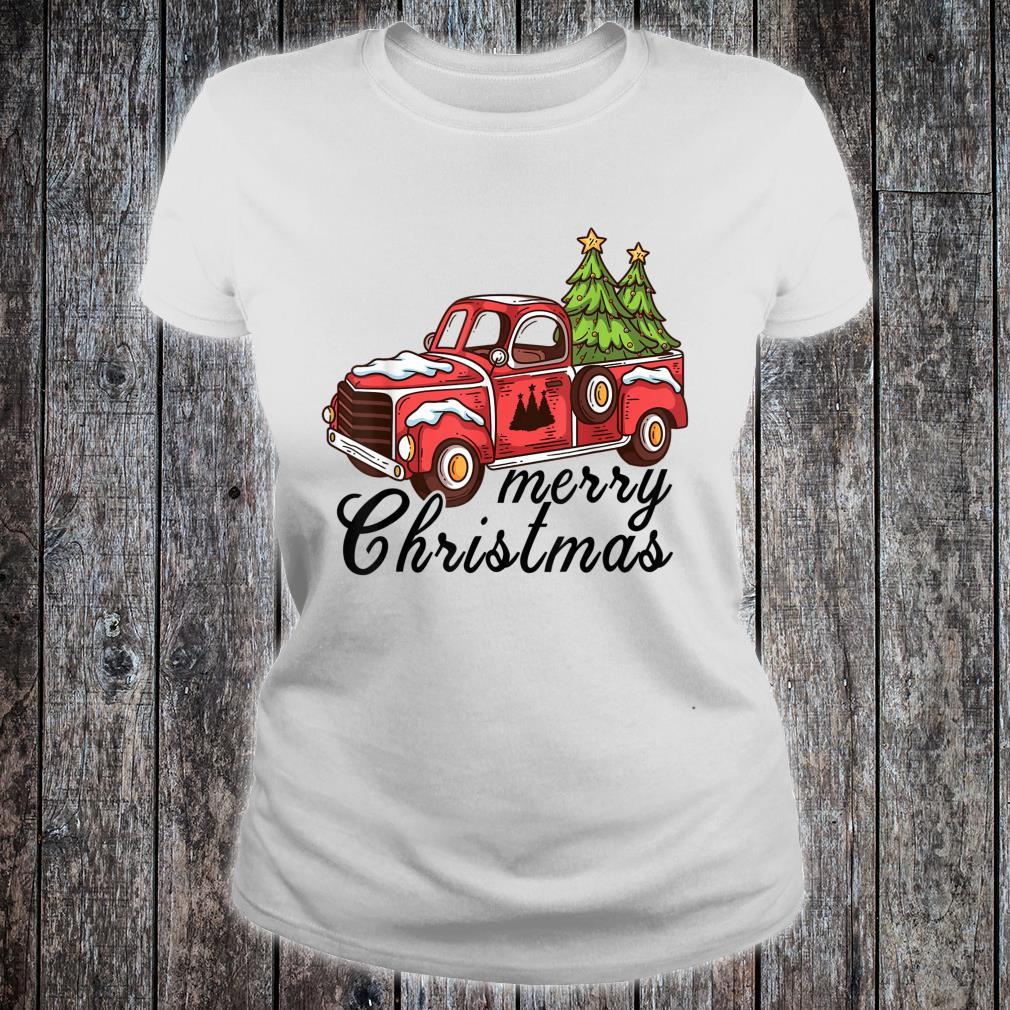 Vintage Merry Christmas Christmas Red Truck Xmas Tree Shirt ladies tee