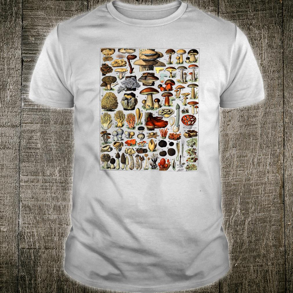 Vintage Mushrooms chart Illustration Shroom Morel Hunter Shirt