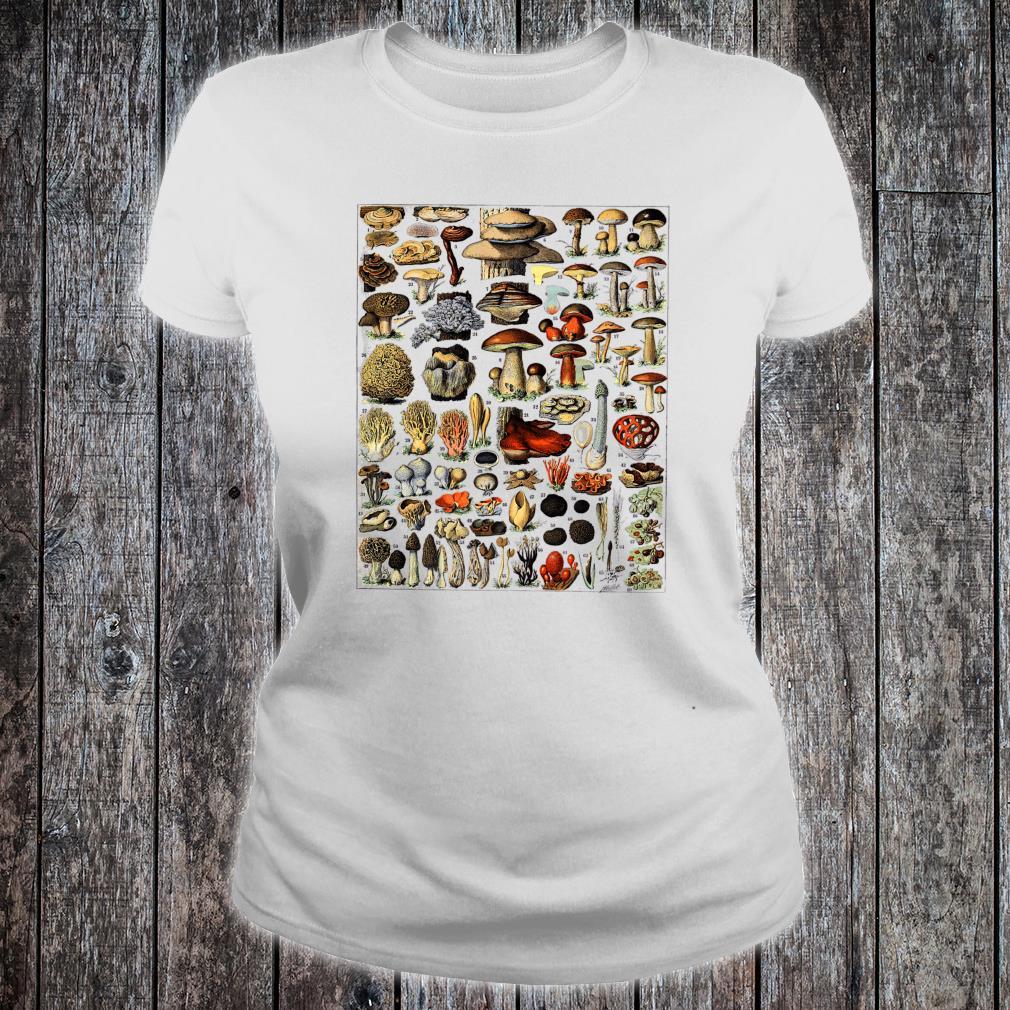 Vintage Mushrooms chart Illustration Shroom Morel Hunter Shirt ladies tee