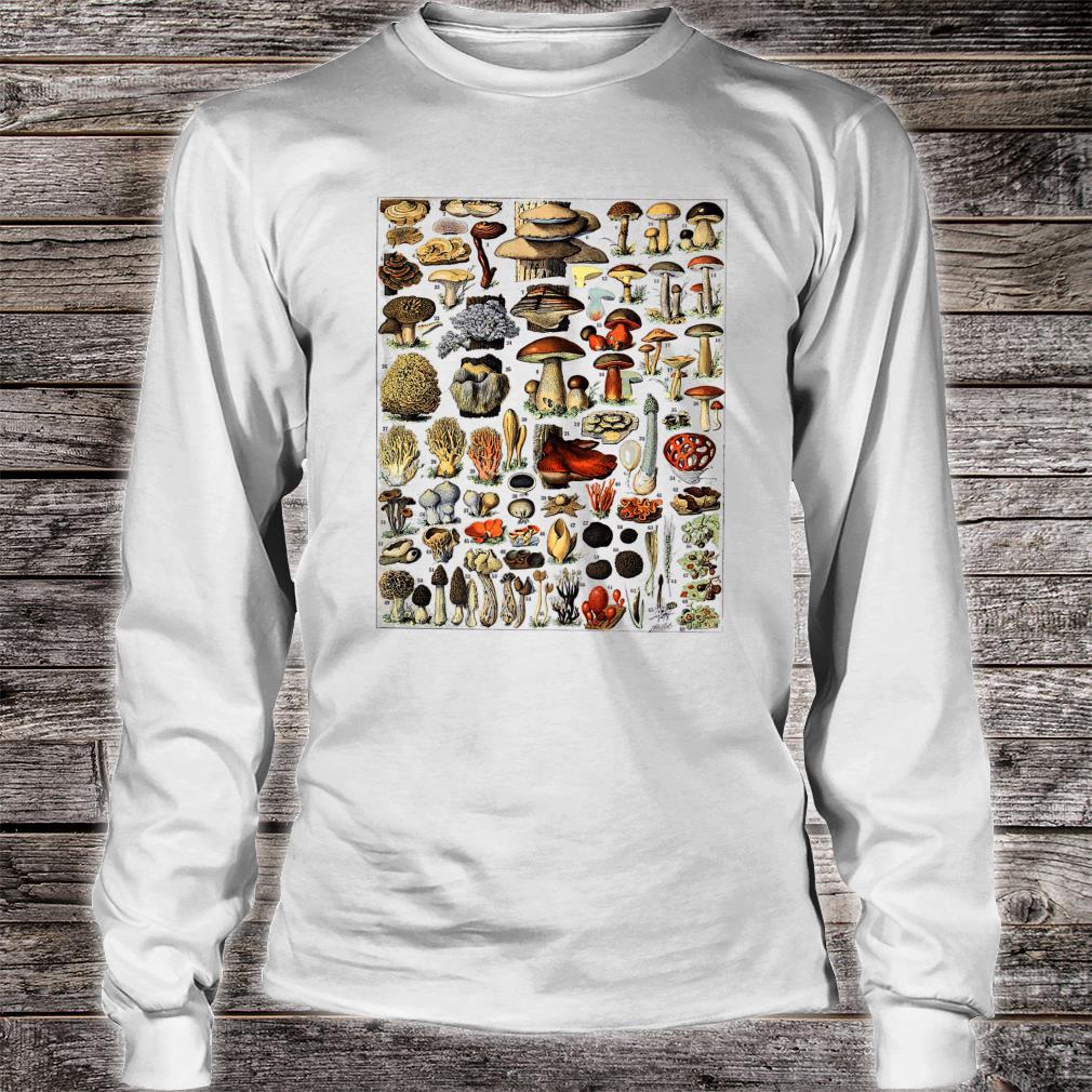 Vintage Mushrooms chart Illustration Shroom Morel Hunter Shirt long sleeved