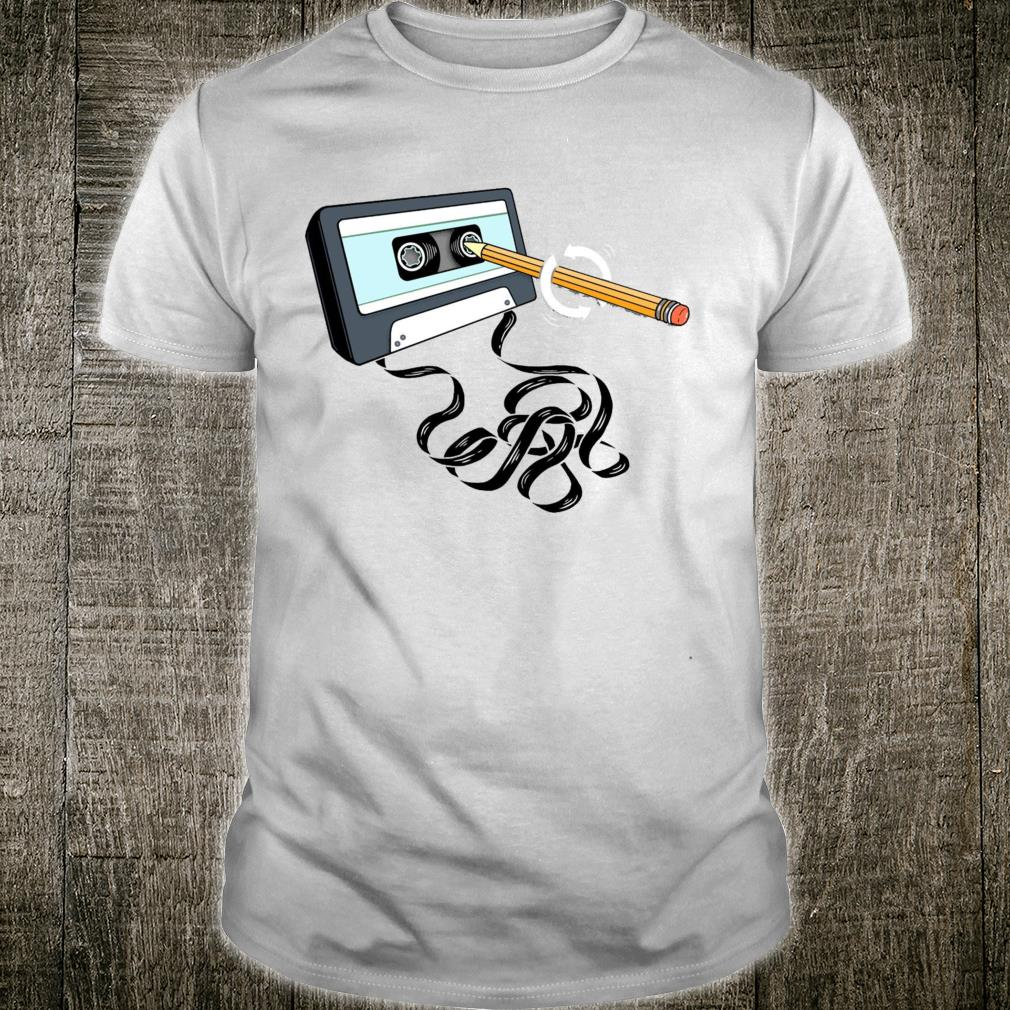 Vintage Music 80s 90s With Pencil Winding Up a Cassette Tape Shirt