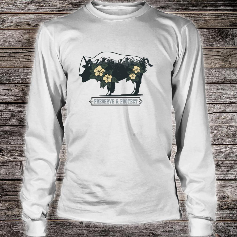 Vintage National Park Adventure Bison Preserve & Protect Shirt long sleeved