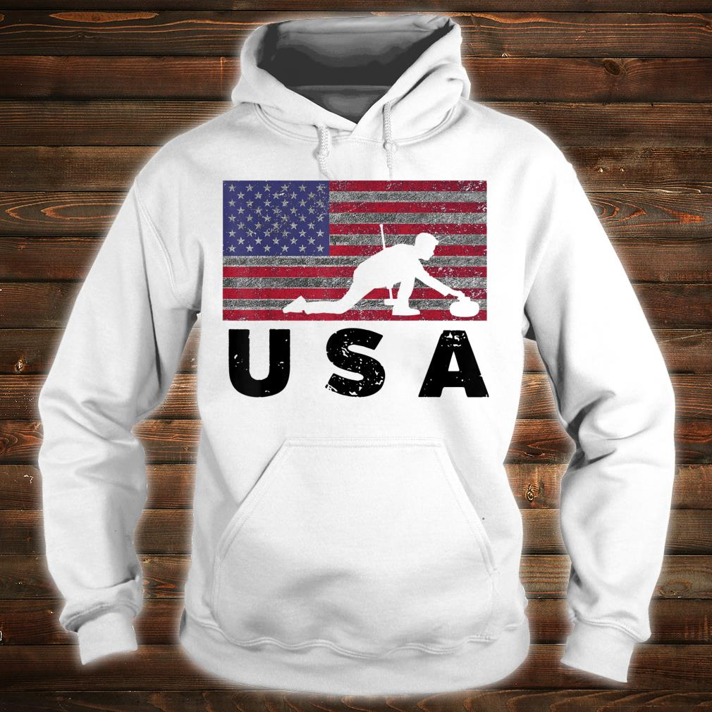 Vintage USA Flag Curling Rock Stone Roaring Game Shirt hoodie