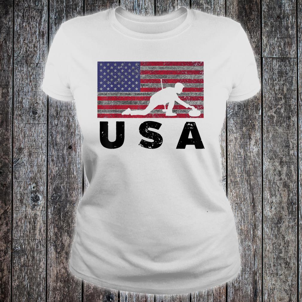 Vintage USA Flag Curling Rock Stone Roaring Game Shirt ladies tee