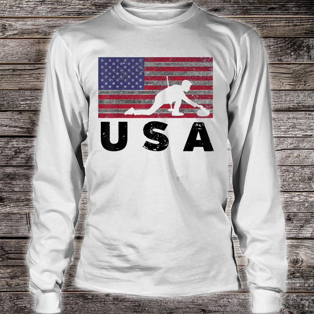 Vintage USA Flag Curling Rock Stone Roaring Game Shirt long sleeved
