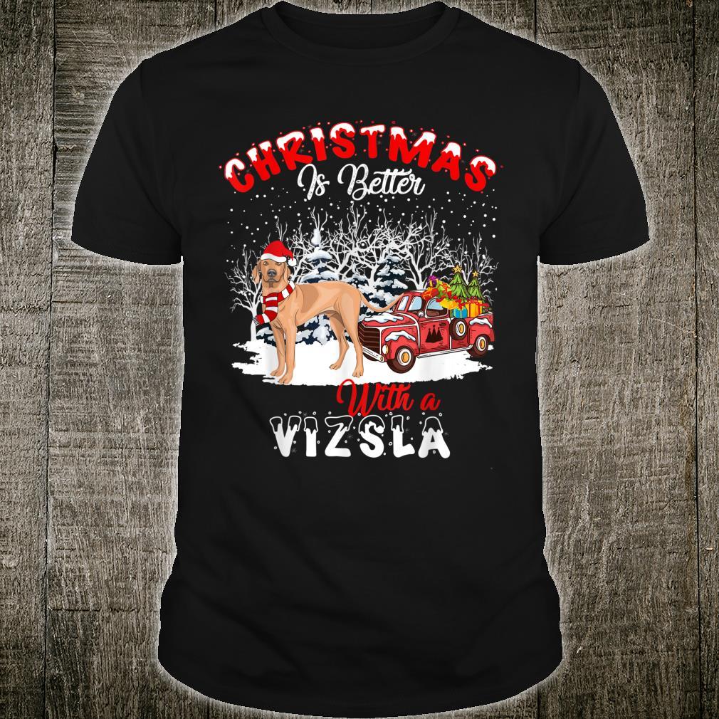 Vizsla Dog Christmas Is Better Dog Light Tree Xmas Shirt