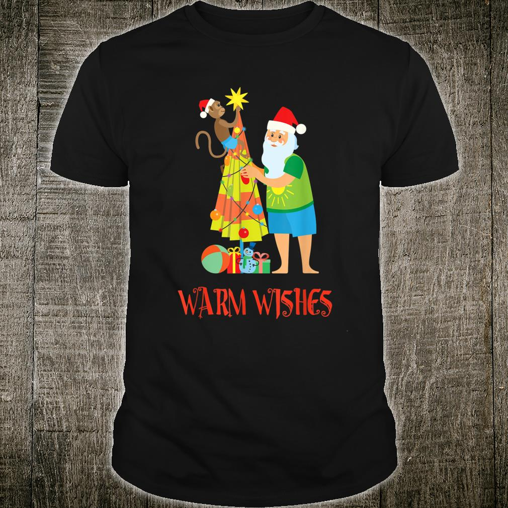 Warm Wishes Cute Santa Claus on a Beach Winter Vacation Shirt