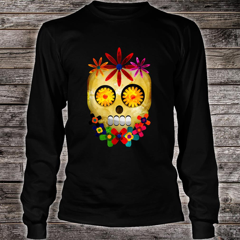 Watercolor Hippie Sugar Skull Gothic Head Floral Halloween Shirt long sleeved