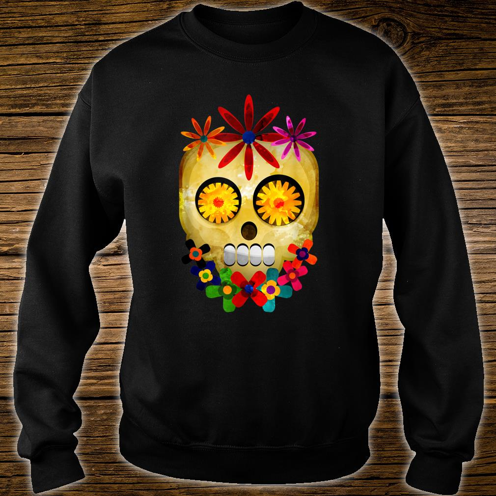 Watercolor Hippie Sugar Skull Gothic Head Floral Halloween Shirt sweater