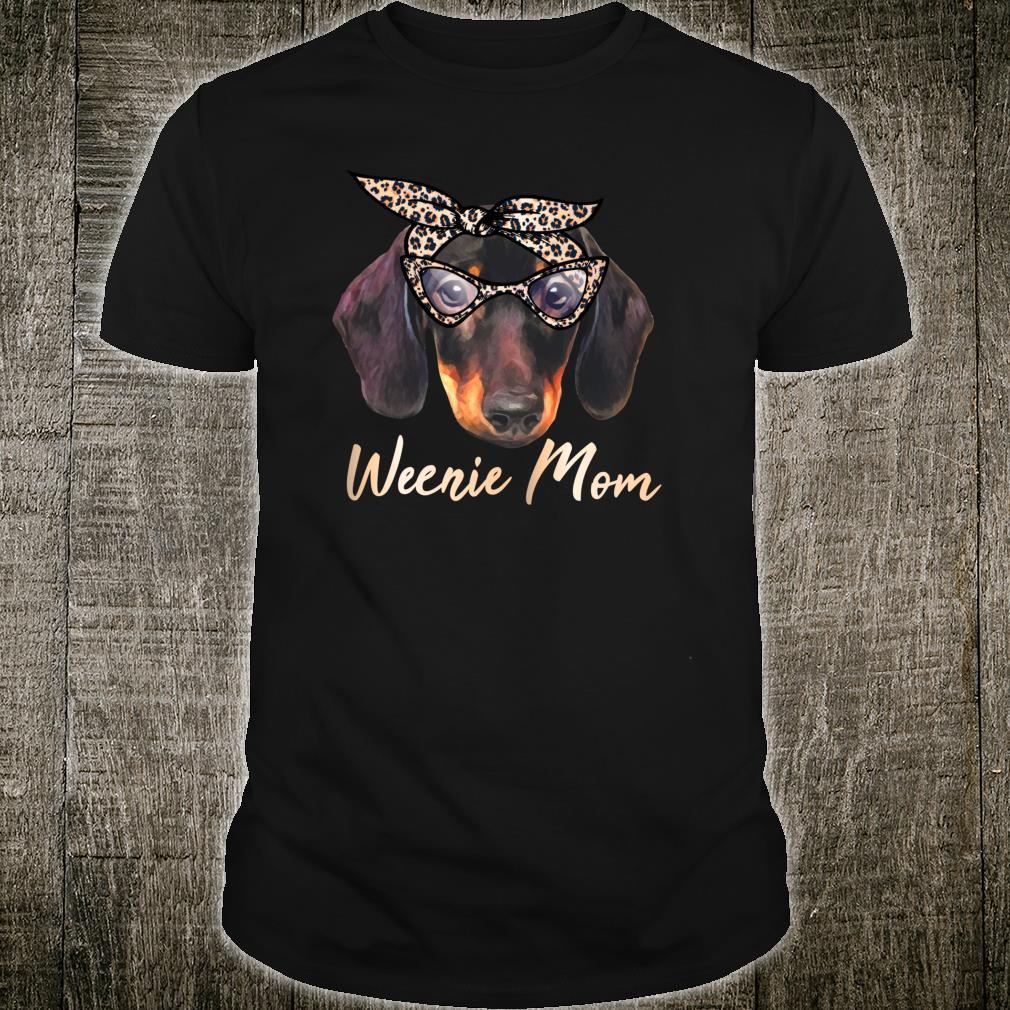 Weenie Mutter Dackel Mama Wiener Hund Leopard Print Geschenk Shirt