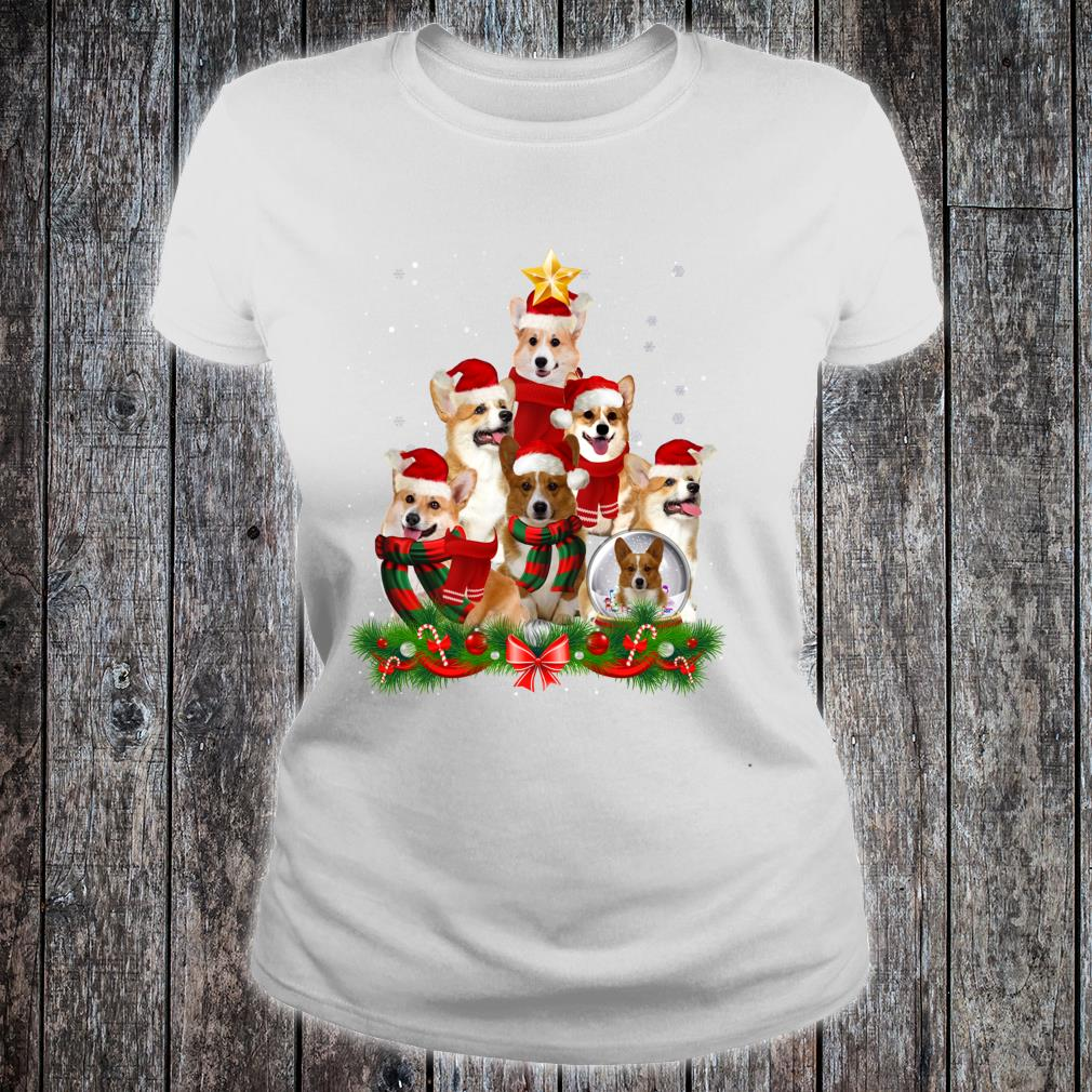 Welsh Corgi Dog Christmas Dog Light Tree Xmas Santa Shirt ladies tee