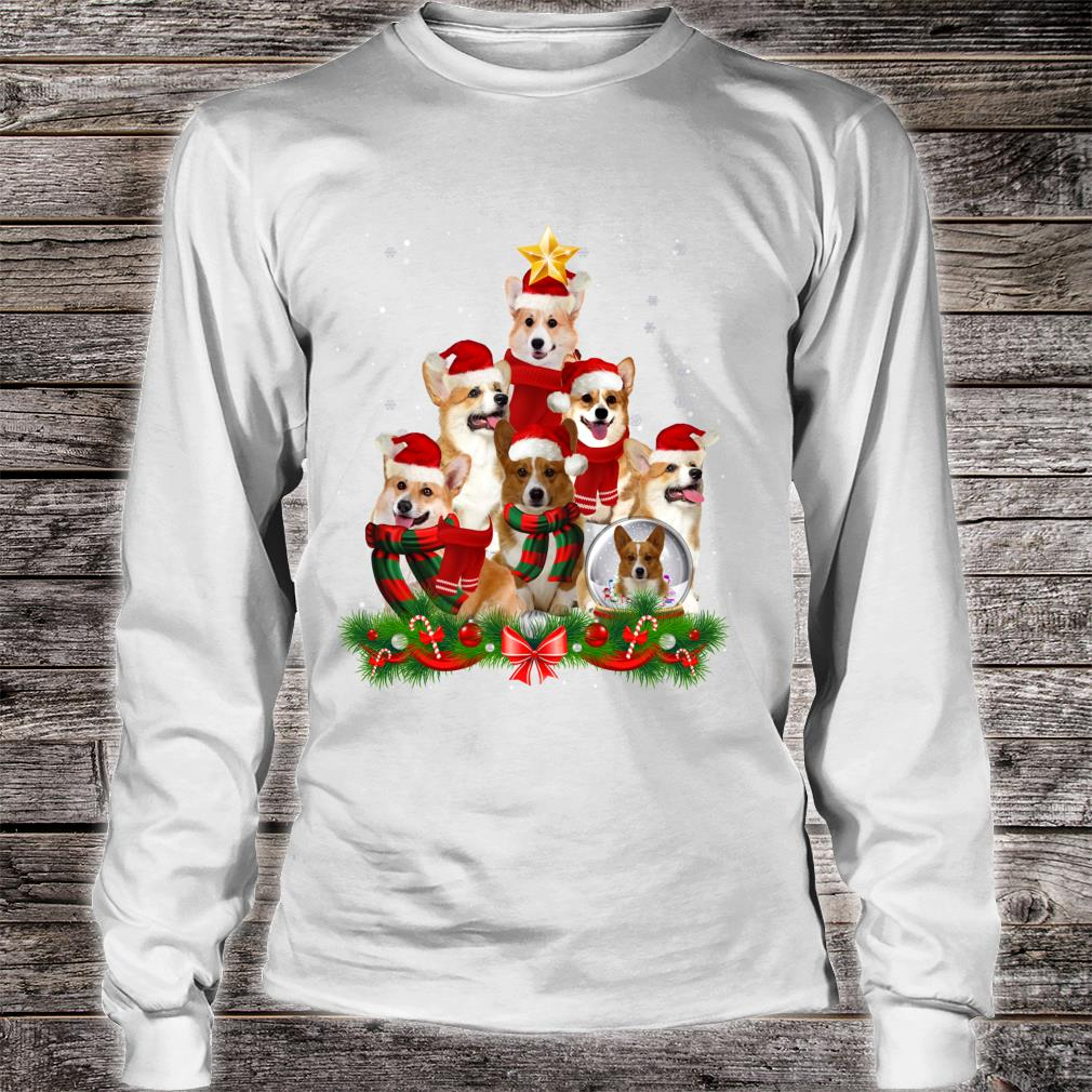 Welsh Corgi Dog Christmas Dog Light Tree Xmas Santa Shirt long sleeved
