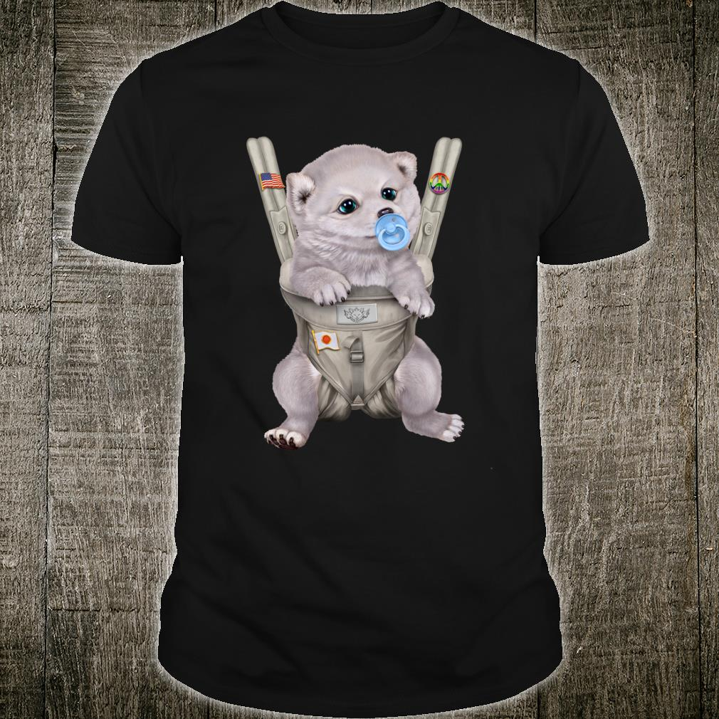 White Shiba Inu Dog in Baby Carrier with Pacifier Shirt