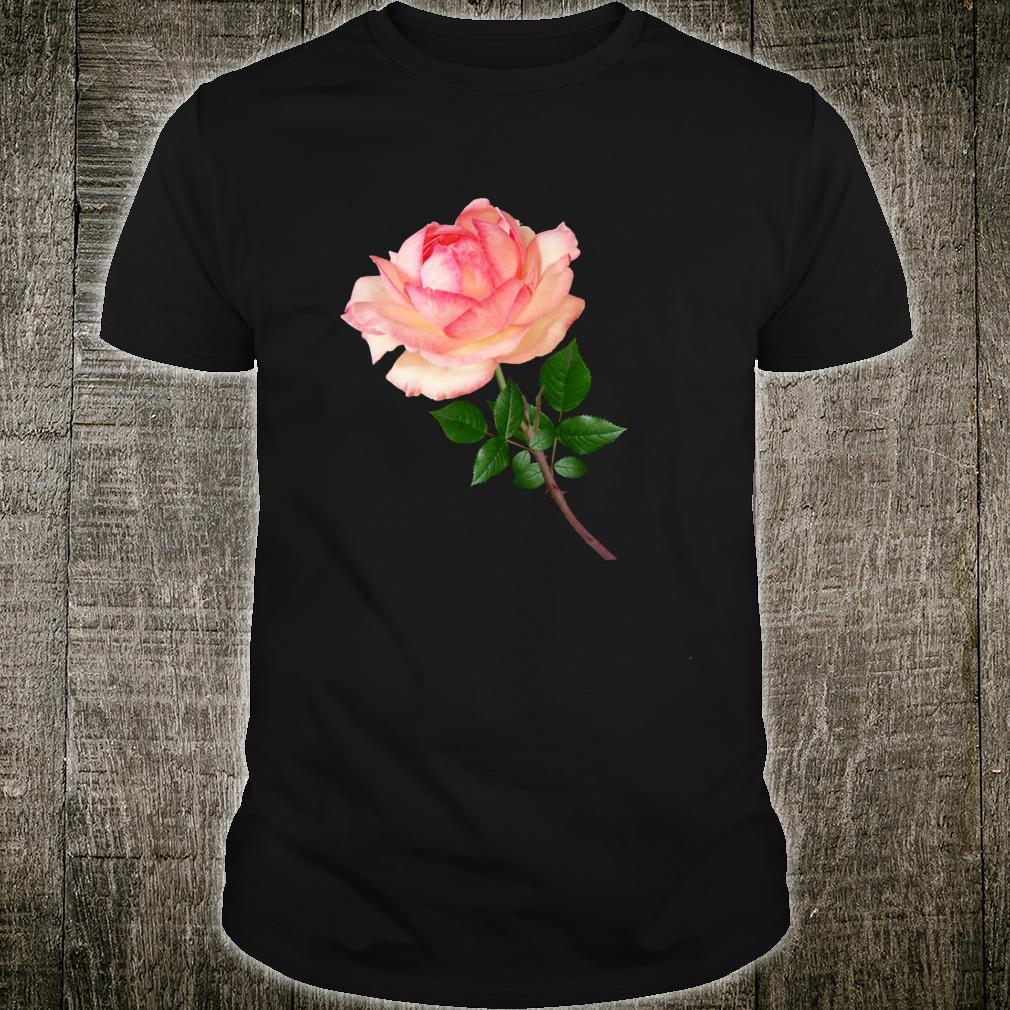 White and Pink Rose Morning Blush Botanical Flower Shirt