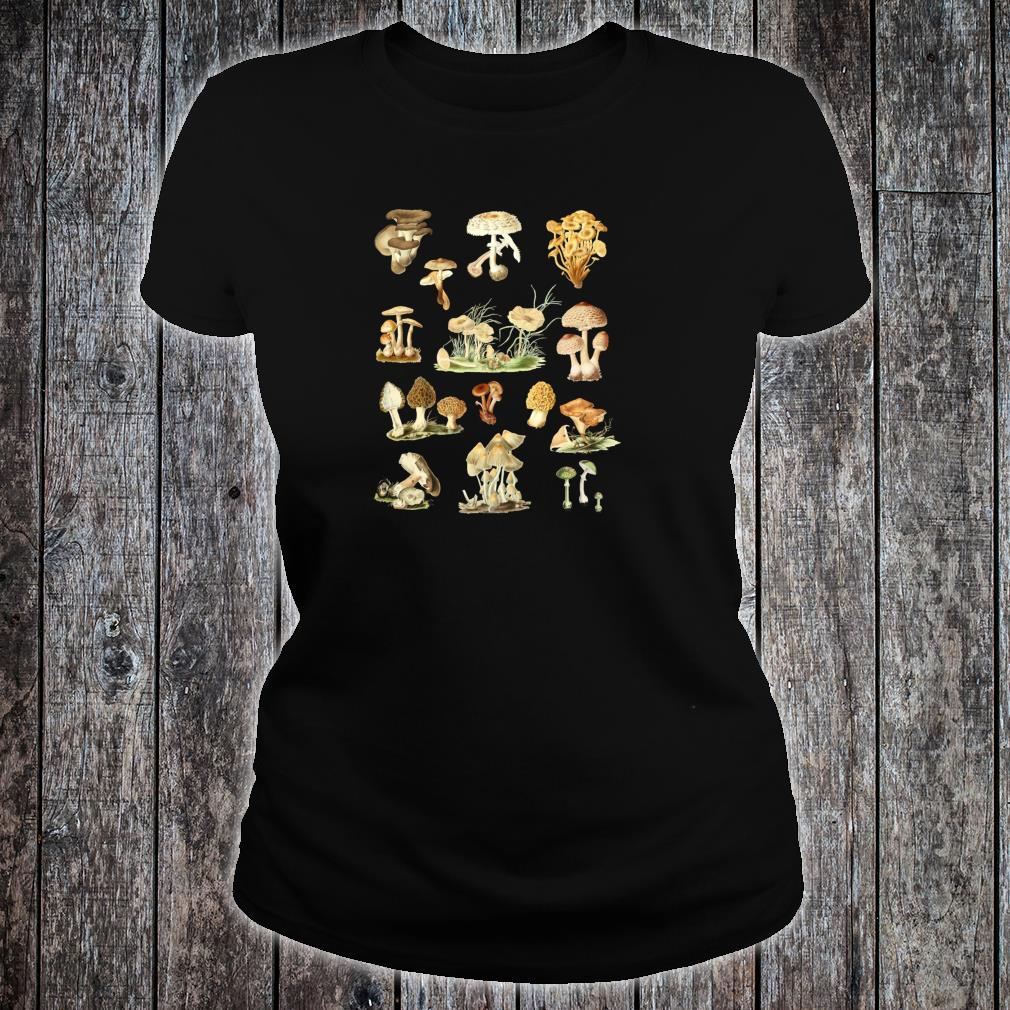 Wild Mushrooms Shirt Cute Mycological Food Art Shirt ladies tee