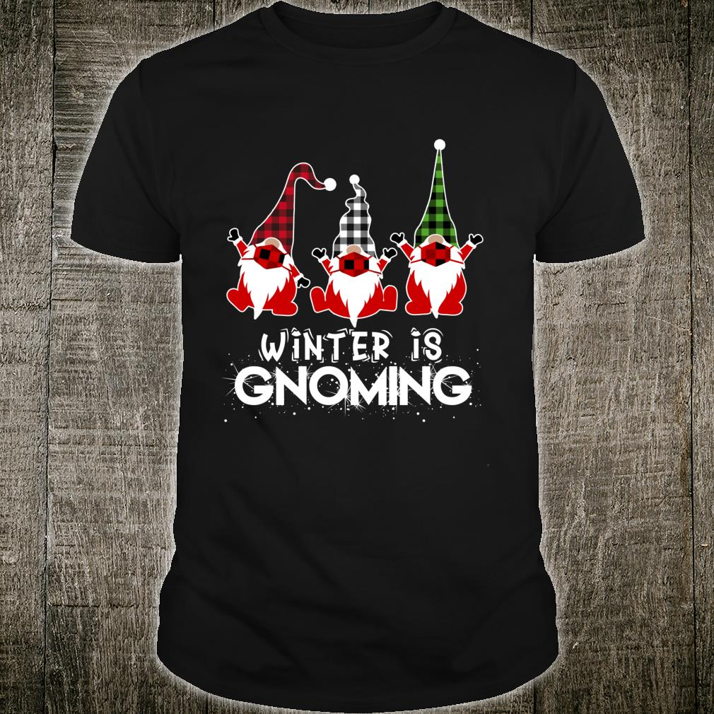 Winter Gnoming Gnomes In Mask Plaid Hat Xmas Quarantine Shirt