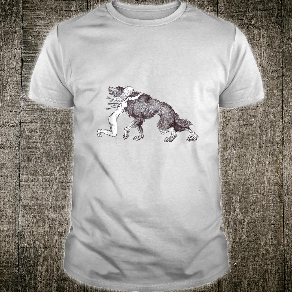 Wolf & Injured Fantasy Animal Drawing Shirt